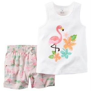 Carter's Flamingo Tank Top and Shorts Outfit